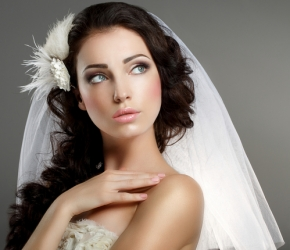 Wedding. Young Gentle Quiet Bride in Classic White Veil Looking Away